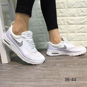 NIKE AIR MAX THEA 2018 Men's and Women's Trendy Fashion Sneakers F-A0-HXYDXPF White+silver logo