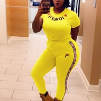 FENDI Fashion Women Casual Short Sleeve Top Pants Trousers Set Two-Piece Sportswear Yellow