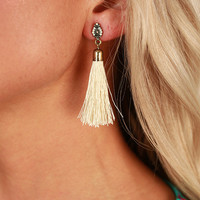 Fancy Meeting You Here Tassel Earrings in Ivory