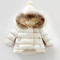 kids winter jackets 2017 baby girls winter coat infant children clothing fur collar hooded thick jacket baby girl boy clothes