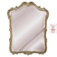 Country French Shell & Scroll Hand Finished Wall Mirror with Gold Finish