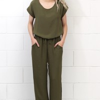 Chic Drawstring Waist Jumpsuit {Olive}