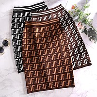 FENDI Trending Women Stylish F Letter Jacquard High Waist Knit Skirt I13821-1