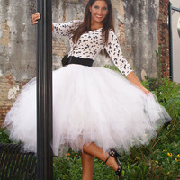 Tea Length White Tulle Tutu Style Skirt for prom, party, portraits.