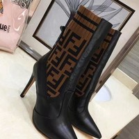 FENDI  Fashion Women flat Boots Sandals High Heels Shoes