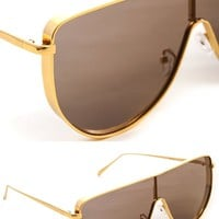 Retro Aviator Sunglasses - Gold/Black