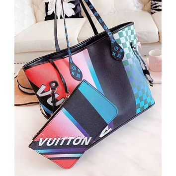 LV Fashion New Letter Print Leather Shopping Leisure Contrast Color Shoulder Bag Women Handbag