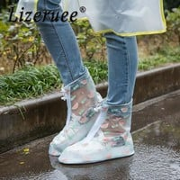 Lizeruee Women's Rain Shoes Cover Waterproof Flat Ankle Boots Cover Heels Boots Shoes Covers Thicker Non-slip Rain Boots CS165