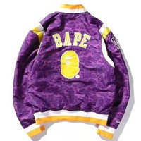 BAPE x NBA co-branded camouflage purple men and women baseball uniform jacket