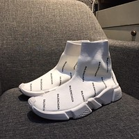 Balenciaga Speed Trainers Stretch Knit Mid Sneakers White Style #3