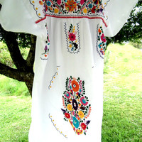 Mexican dress, Women's embroidered white dress,  Peasant dress,  flowers dress ,mexican womens clothing, Boho Hippie Frida Kahlo dress  XL