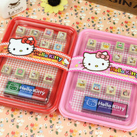 Kawaii Cartoon Hello Kitty Wooden DIY Stamp Set Student Prize Promotional Gift Stationery TRD