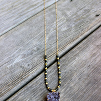 Amethyst Druzy Horn Charm Necklace Gold Dipped with 14k Gold Chain Hematite and Gold Beads Long Layering Necklace Fall Collection