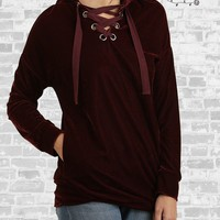Lace-Up Velvet Hoodie - Burgundy - Small only