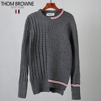 Thom Browne autumn and winter new men's knit classic four-bar color casual sweater Grey
