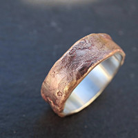 bronze ring silver band, mens wedding ring bronze, richly structured ring bronze engagement ring, cool mens ring bronze, wood grain ring
