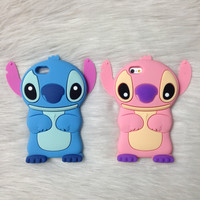 2015 Anime Cartoon Stich Silicon 3D Cute Silicone Back Cover Case Lilo Stitch Case For iPhone 4 4s 5 5s 6 6s 6 plus 6s plus