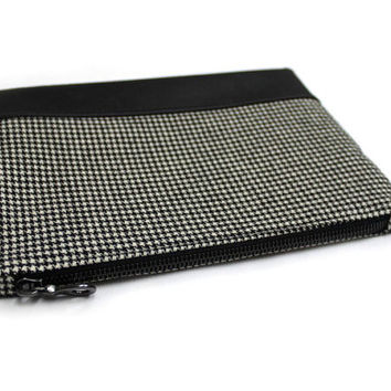 Houndstooth Clutch, Black White Purse, Wool Tweed Clutch, Hounds Tooth Check Zipper Pouch, Leather Wool Clutch, Black White Clutch