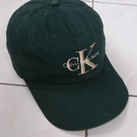 Rare 90s Calvin Klein CKJ Embroided Logo Dark Green Colour Snapback Trucker Caps One Size Fits All Made In Usa