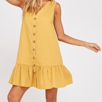 Button Down Ruffle Hem Shift Dress