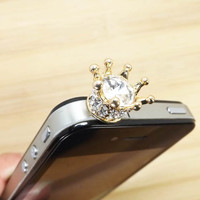 Golden King Queen Crown Crystal Alloy Dust Plug - 3.5mm Smart Phone Headphone Cap Dustproof Plug Charms for iPhone 4 4S 5 HTC, Samsung