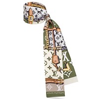 LV classic old flower pattern female hair band small scarf Green