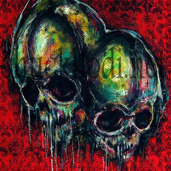 """Print 8x10"""" - Two - Skulls Skeletons Dark Art Abstract Surreal Lowbrow Horror Spooky Creepy Taxidermy Gothic Macabre Oddities Pop"""