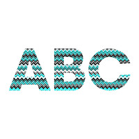 Madart Inc. Turquoise Black White Chevron Decorative Letters