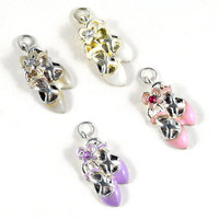 Ballet Slippers Metal Charm with Rhinestone Detail - Assorted Colours -  jewellery making, sewing, making Crafts, Gift Wrapping and Costumes