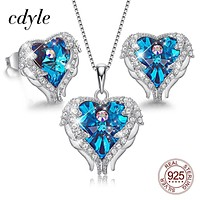 Cdyle 925 Sterling Silver Necklace Earrings Set Embellished with Crystal from Swarovski Fashion Jewelry Heart of Ocean Charm