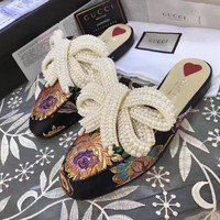 GUCCI Women Trending Fashion pearls Bow Casual Flat Sandal Slipper Heels Shoes Flower