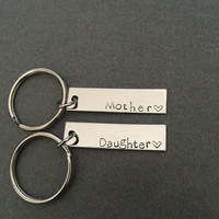 Mothers Day Gift, Mother Daughter Keychains, Stamped Keychains, Mom Gift , Anniversary Gift