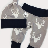 Baby Leggings - Boy Joggers - Girl Leggings - Boy Leggings - Deer Leggings - Make it a Take Home Outfit - Baby Gift - Grey with Navy pants