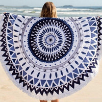 Large Microfiber Reactive Printed Round Beach Towel With Tassel gift