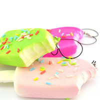 1P New Squishy Bread Chocolate Sprinkles Popsicle Phone Straps Soft Scented Charms