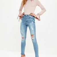 Missguided - Blue Sinner High Waisted Fray Ripped Skinny Jeans