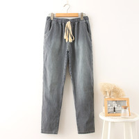 Korean Summer Women's Fashion Stripes With Pocket Casual Cropped Pants [4919991428]