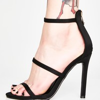 Midnight Top Down Strappy Heels