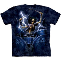 DEATH DRUMMER The Mountain Skeleton Playing Drums Metal Music T-Shirt S-3XL NEW