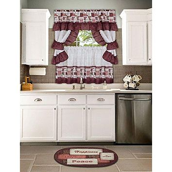 Ben&Jonah Collection Inspiration Cottage Window Curtain Set 57x24 Tier Pair/57x36 Ruffled Topper
