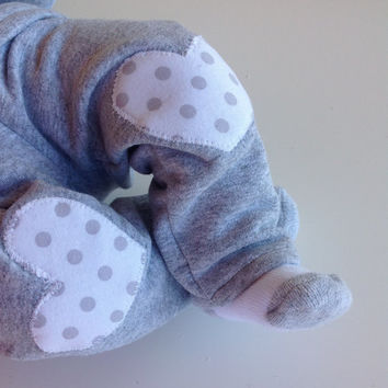 Baby Infant Newborn Girl Sweat Outfit Set Pants Leggings Long Sleeve Pullover Gray White polka Dots