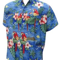 La Leela Blue Parrot Printed Mens Hawaiian Shirt