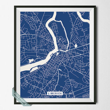 Limerick Print, Ireland Poster, Limerick Street Map, Ireland Print, Ireland Street Map, Home Decor, Wall Art, Map Print, Back To School