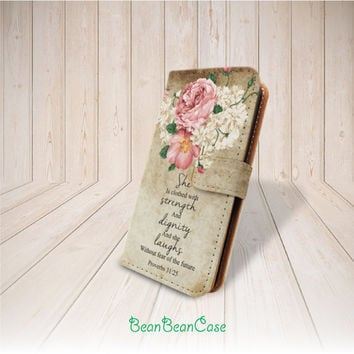 vintage flower quote flip pu leather cover case for iPhone 6 and 6 plus 5 5S 5c 4 4S, moto X, galaxy S3 S5 S4 Note 3 4, Proverbs 31:25 (K33)