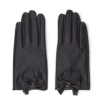FOREVER 21 Faux Leather Bow Gloves Black One