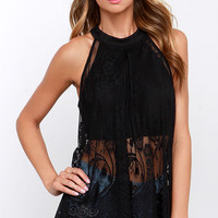 Amazed by You Black Lace Top