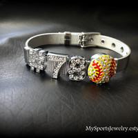 Custom Stainless Steel Sports Bracelet with Rhinestone Slider Charms (Baseball, Softball, Football, Soccer, Volleyball, Basketball)