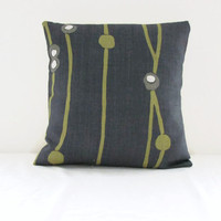 16 inch blue linen pillow cushion cover , Romo Alani in wasabi , denim blue and lime green throw pillow