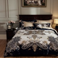100S Egyptian Cotton Luxury Bohemia Bedding Sets Silky Soft Bed set Queen King size Duvet cover Bed sheet/linen set Pillowcases