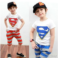 2014 Best Quality Summer Children Clothing Set Superman Tshirt +Stripe Harem Pants Boys Causal Set Baby Kids Suit.